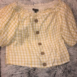 Puff sleeve checker pattern Blouse with buttons